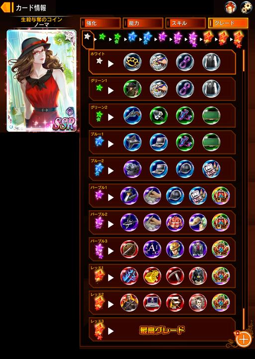 カードのグレードアップ画面